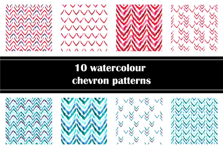 Set of hand drawn watercolour chevrons patterns, PNG and JPG