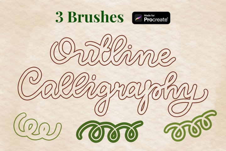 Outline calligraphy and lettering Procreate brushes set