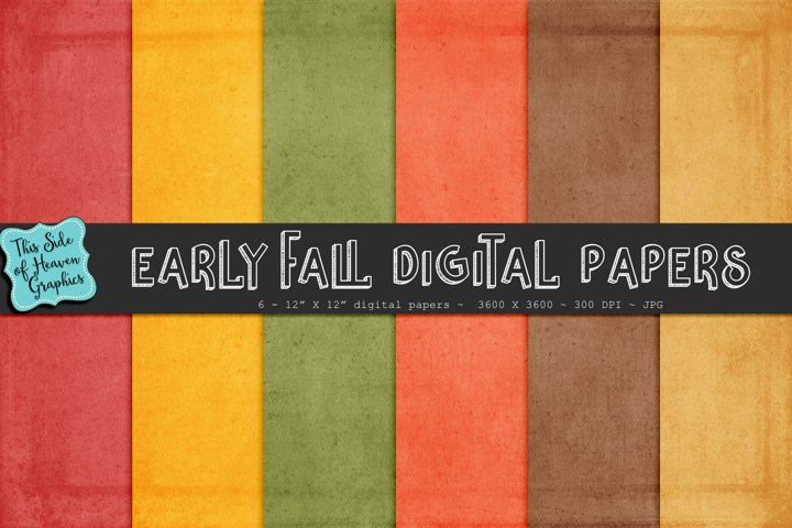 Textured Digital Scrapbook Papers - Early Fall