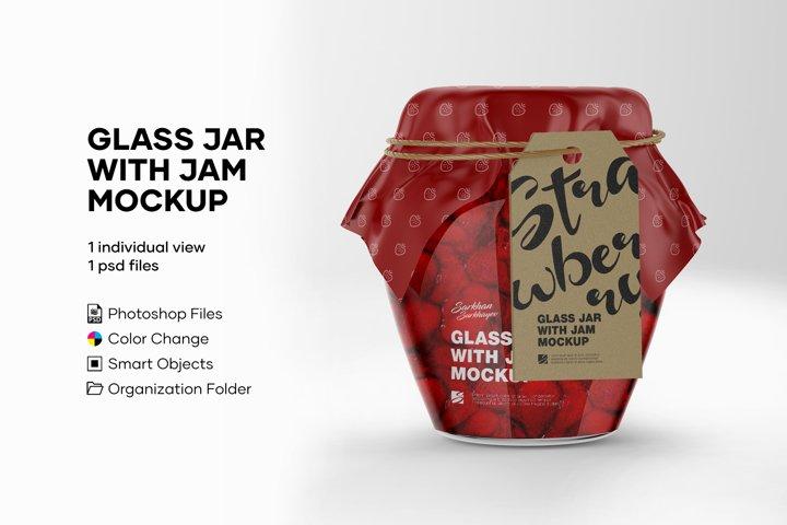 Glass Jar With Jam Mockup