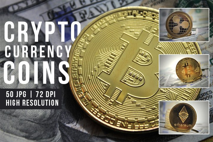 Cryptocurrency Coins. Bitcoin, Ripple and Ethereum JPEG Set