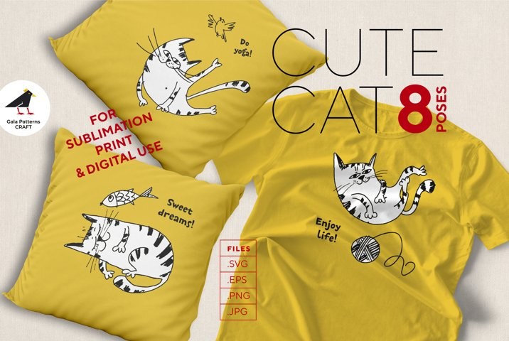 Cute cat sketches bundle of 8 poses - files for print