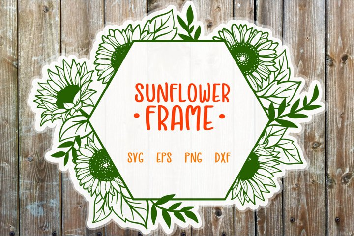 Sunflower Frame SVG cut file