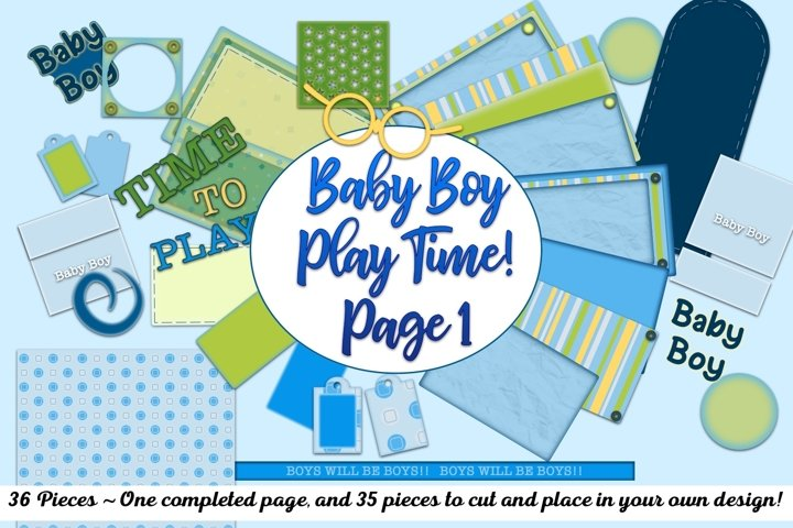 36pc Baby Boy Time To Play Page 1 Completed and Pieces
