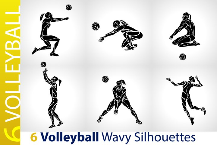 Volleyball Female Players / Volleyball Silhouettes set