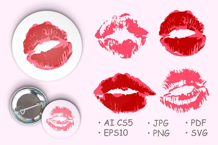 Lips, kisses. Collection of romantic elements