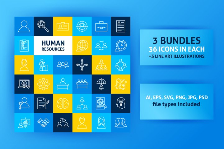 Human Resources Line Art Icons