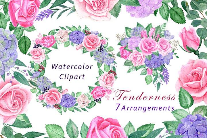 Watercolor flowers clipart. Purple, Pink Roses, Hydrangeas