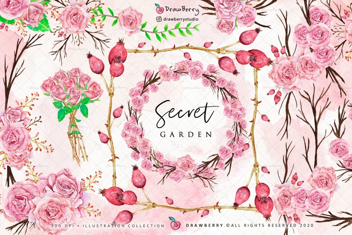 Pink Watercolor Floral Wreath Graphics