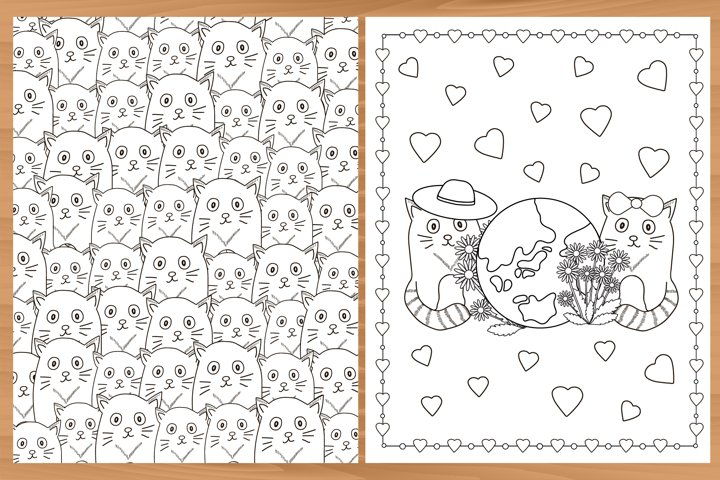 14 Printable coloring pages with cats. Coloring cat. Set.