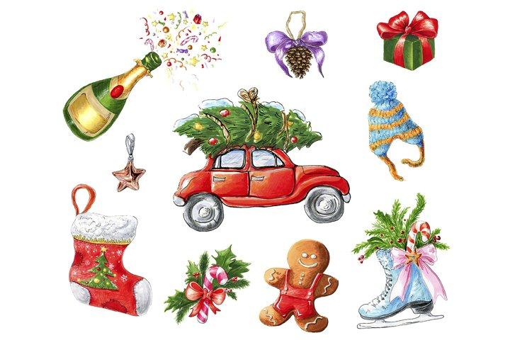Christmas collection of nice hand drawn illustrations