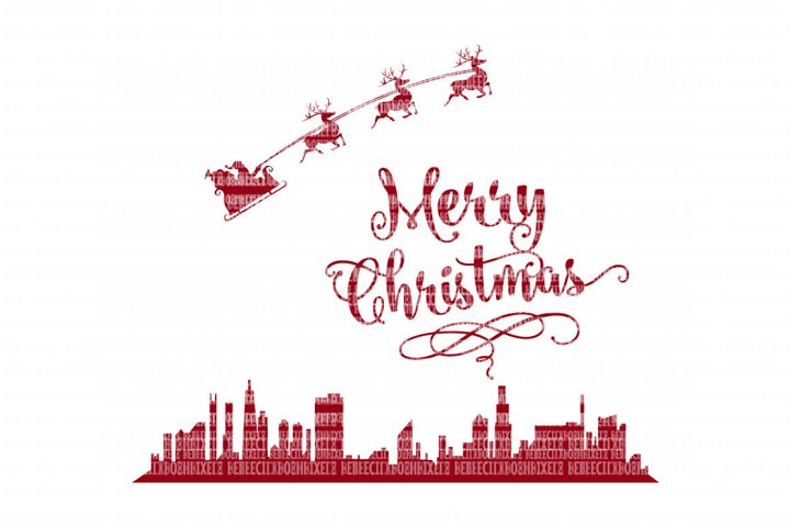 Merry Christmas Cityscape SVG File, SIlhouette SVG Files for Cameo and Cricut Design Space, Iron on Decal, Printable Transfer, DXF Commercial Use,