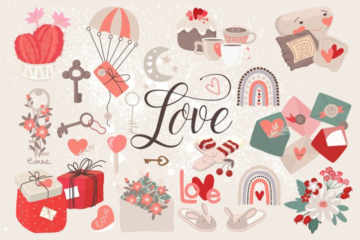 Valentines Day. A large set of cards and patterns.