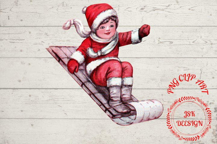 Child Christmas sleigh sublimation file for crafters