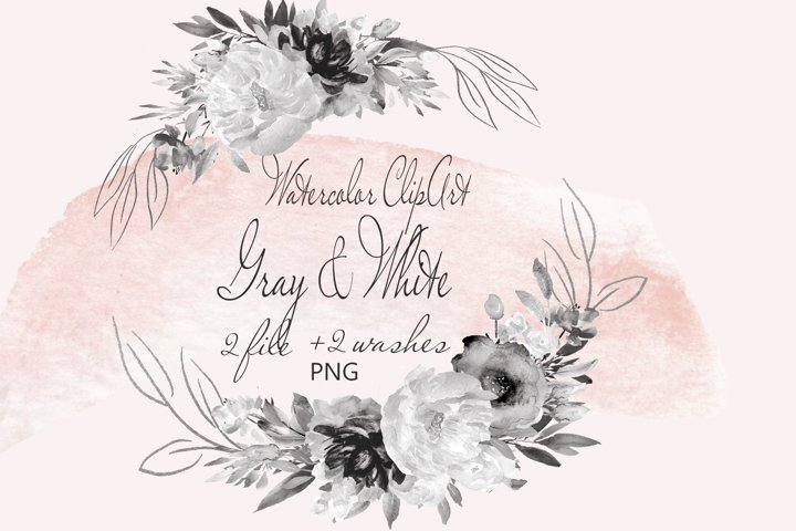 Gray Flowers Clipart Watercolor