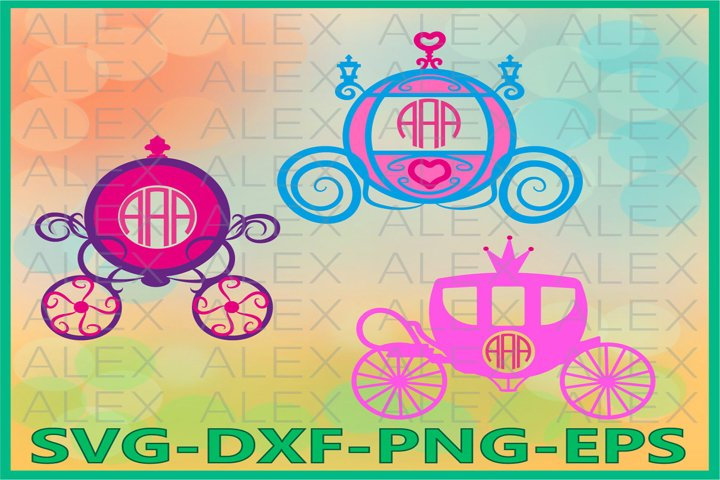 Princess Carriage Monogram Files, Princess svg Files