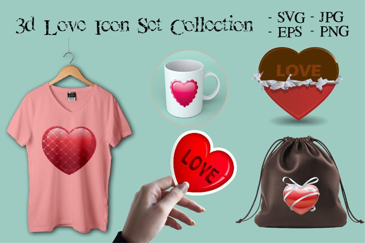 3d Love Icon Set Collection