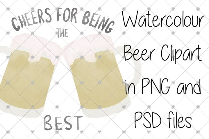 Watercolour clipart, beer clipart, fathers day clipart, dad,