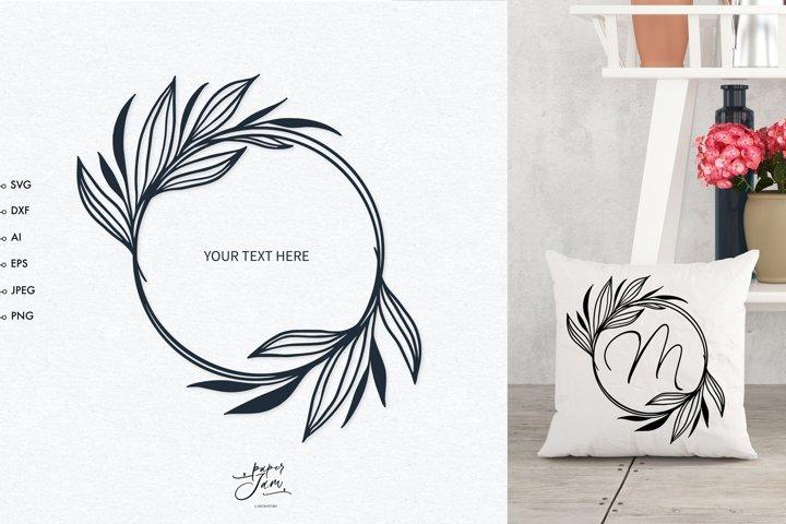 Wedding monogram frame SVG, Floral frame sublimation svg