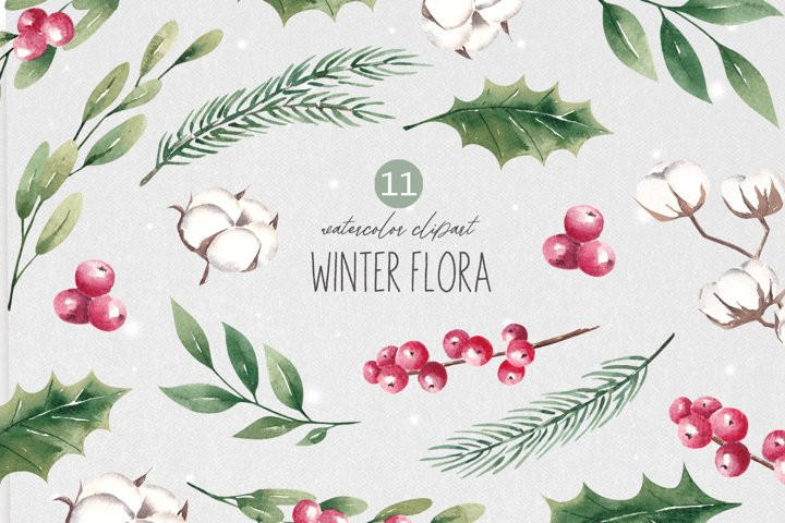 Watercolor Christmas Flora Clipart