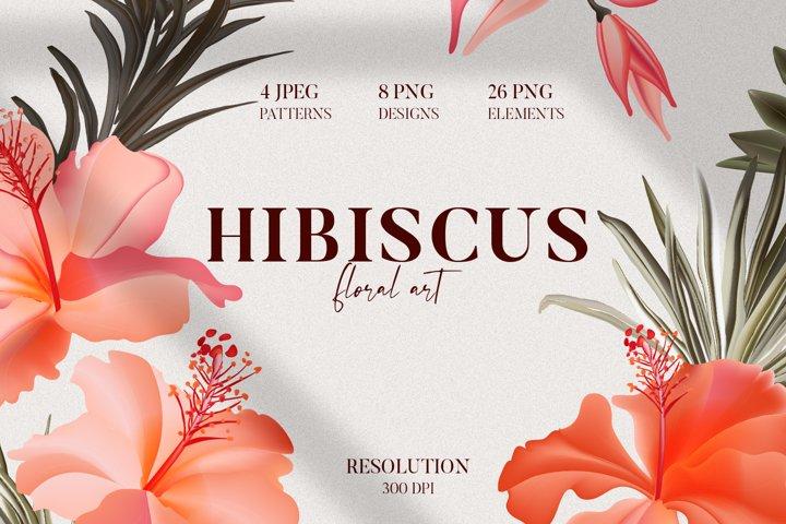 Boho Hibiscus watercolor flower wreath, border, arrangement