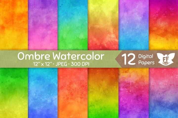 Vivid Ombre Watercolor Textures - Digital Paper Set