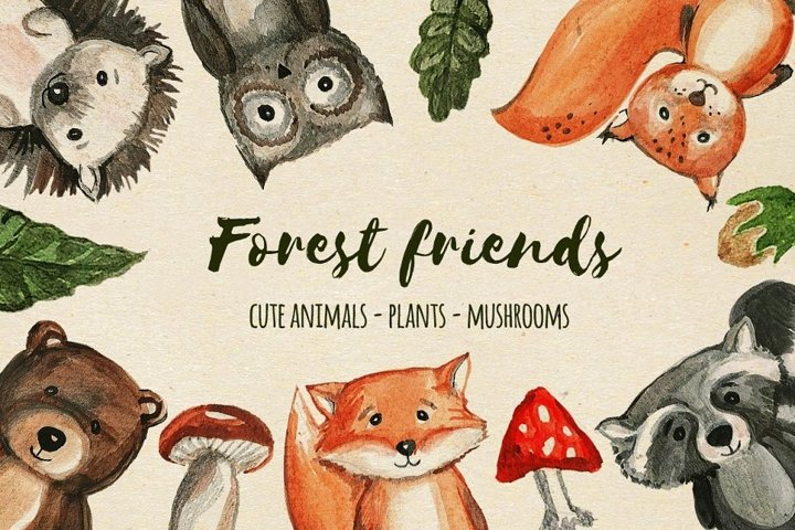 Watercolor forest baby animals. Woodland childrens friends