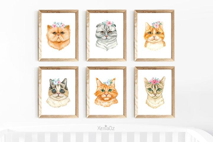 Set of 6 Watercolor Cats Prints, Nursery Wall Decor, Animal