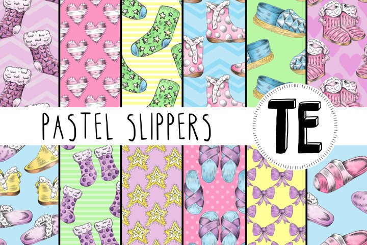 12 Pastel Slippers Seamless Patterns - Winter Digital Papers