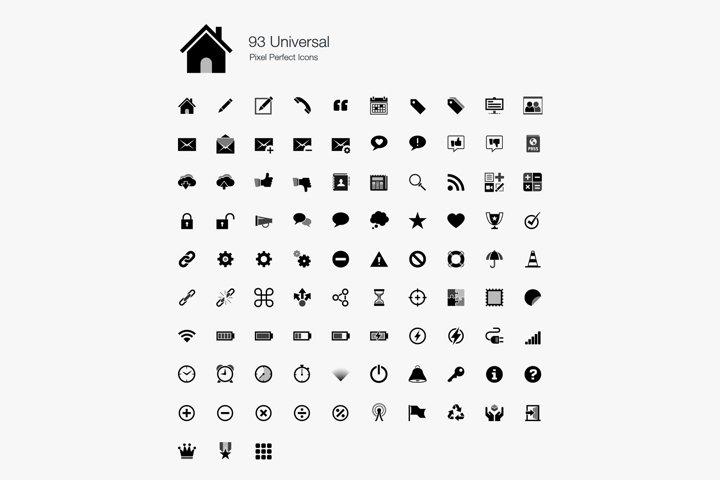 Universal Web UI Pixel Perfect Icons Set Bundle