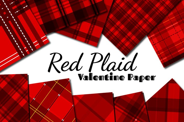 Red Plaid Valentine Paper
