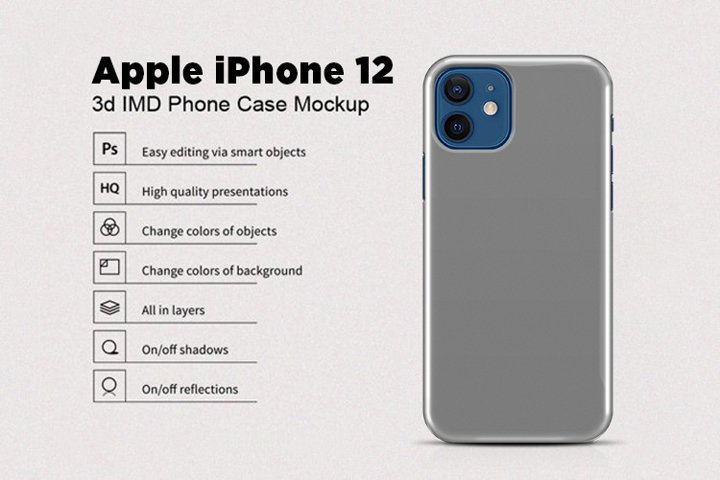 Apple iPhone 12 3d Phone Case Mockup Back View