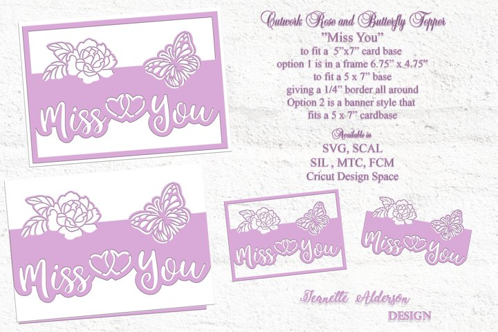 Cutwork Rose &butterfly Miss You cutting file with 2 otions