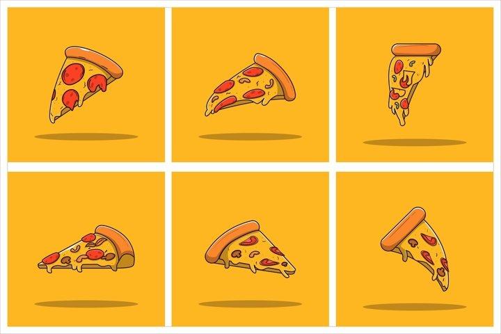 Pizza Vector Set Flat Illustration