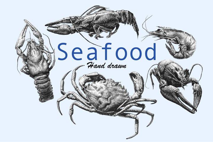 Seafood. Hand drawn.
