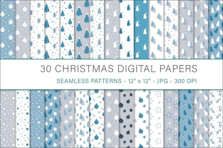 Christmas digital papers - 30 Seamless Designs