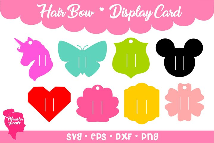 Hair Bow Clip Display Card 04 - Bundle of 8 style and 3 siz