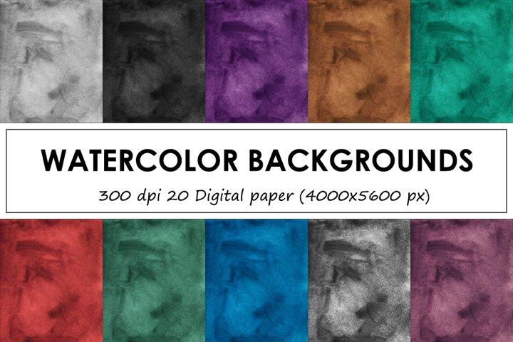 Watercolor backgrounds - 20 Vintage digital paper collection