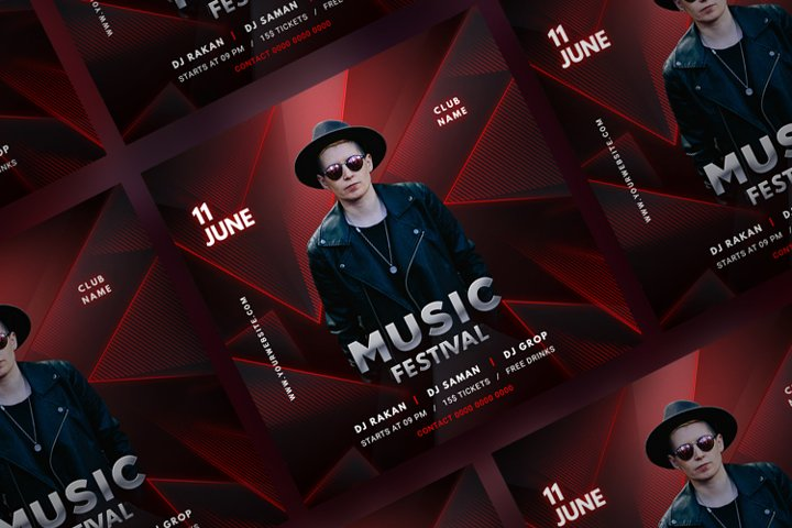 Music Party Social Media Post Template. Vol 6
