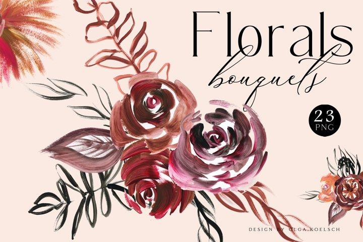 Boho Roses bouquets clipart, Burgundy flower clipart, Modern