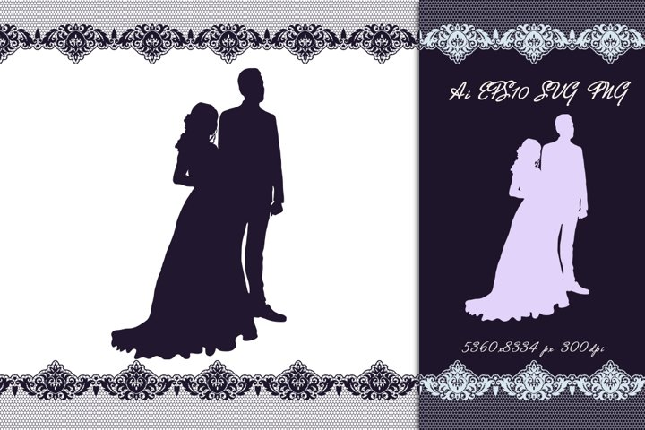 Wedding couple. Silhouette. SVG