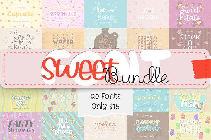 SWEET Font Bundle - 20 Cute & Quirky Handwritten Fonts