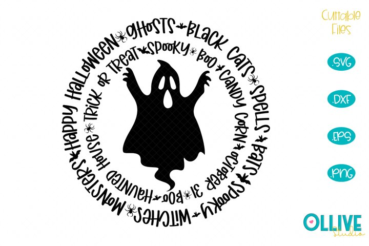 Halloween Word Art Ghost SVG