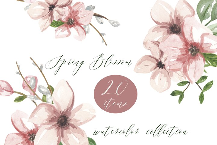 Apple blossom watercolor clipart, cherry floral arrangement