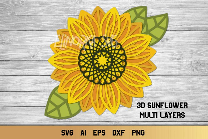 3d Layered Sunflower SVG | Multi Layer SVG | Cut File