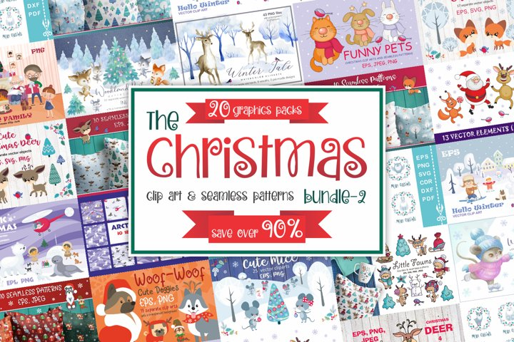 Christmas graphics bundle. Clip art and seamless patterns