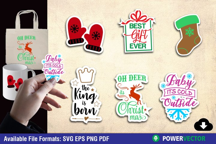 Christmas SVG, Cute Sticker Set for Crafters