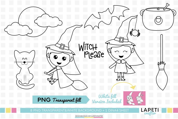Witch digital stamp, Halloween png clipart for coloring