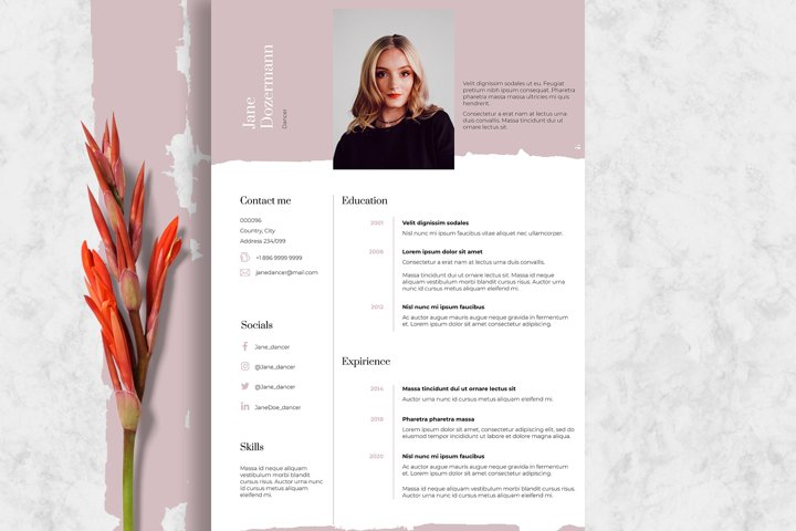Dance Resume Template Pink & Clean