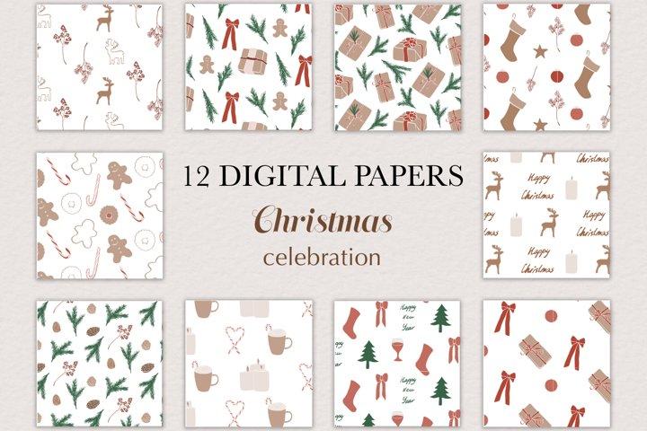 Digital paper, Pattern, Christmas, SVG